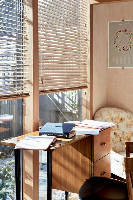 Kassia's writing desk in garden office